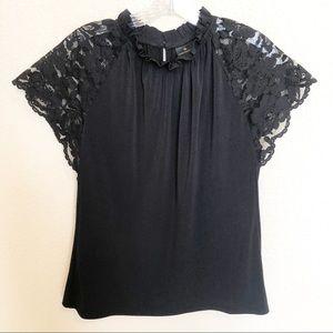 WORTHINGTON Black Lace Stretchy Blouse